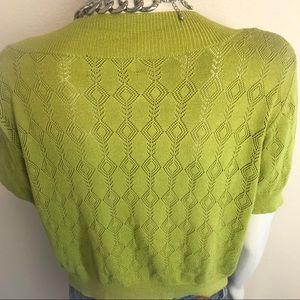 Ronni Nicole Sweaters - RONNI NICOLE Green Eyelet Shrug Sweater
